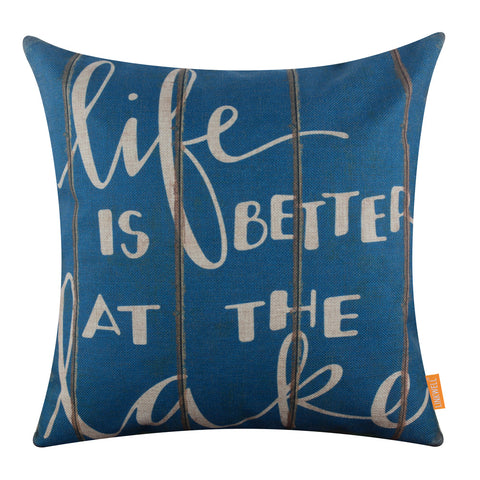 Image of Blue Life is Better at the Lake Pillow Cover
