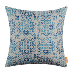 Blue Porcelain Tile Printed Pillow Cover 18x18