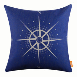 Blue Sailor Compass Inspired Pillow Cover