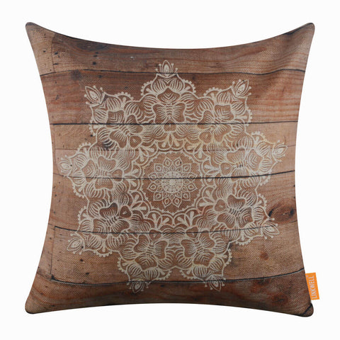 Image of Brown Geometric Patterned Pillow Cover