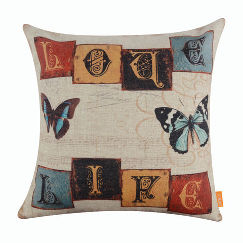 Butterfly Quote Love Life Pillow Cover