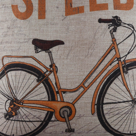 Yellow Bicycle Pillow Cover
