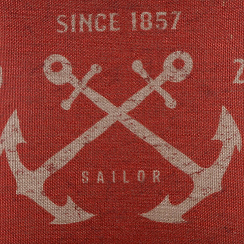 Antique Red Sailor Anchor Pillow Cover