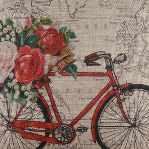 Image of World Map Floral Bike Pillow Cover