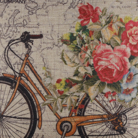 Image of Yellow Bicycle World Pillow Cover