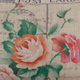 Pink Rose Love Floral Post Card Pillow Cover
