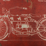 Dark Red Motorcycle Patent Pillow Cover