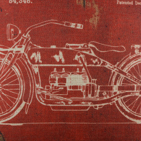 Image of Dark Red Motorcycle Patent Pillow Cover