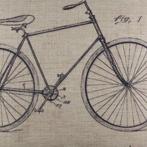 Old Bicycle Patent Square Cushion Cover
