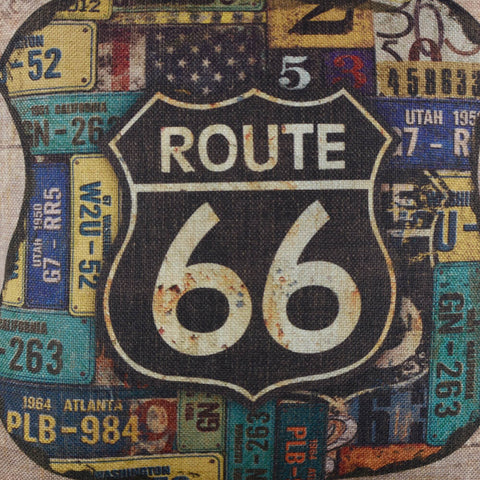 Image of Vintage Route 66 Car Plate Pillow Cover