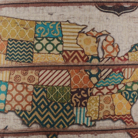 Image of Vintage Patchwork American Map Pillow Cover