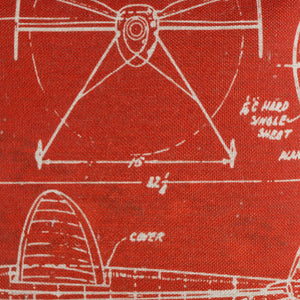 Deconstructed Red Airplane Patent Pillow cover