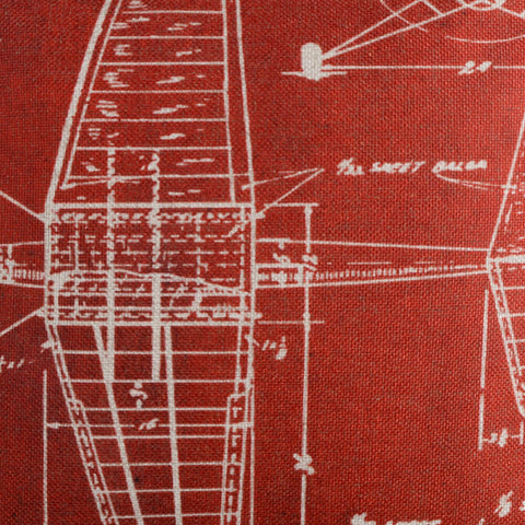 Red Airplane Patent Pillow Cover