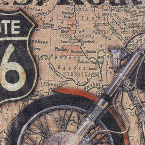 Image of Route 66 Motocycle Pillow Cover