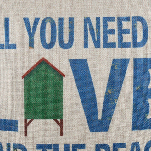 Image of All You Need is Love and the Beach Blue Decorative Pillow Cover