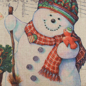 Happy Christmas Snowman White Pillow Case