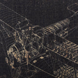 Black Aeroplane Draft Designer Pillowcase