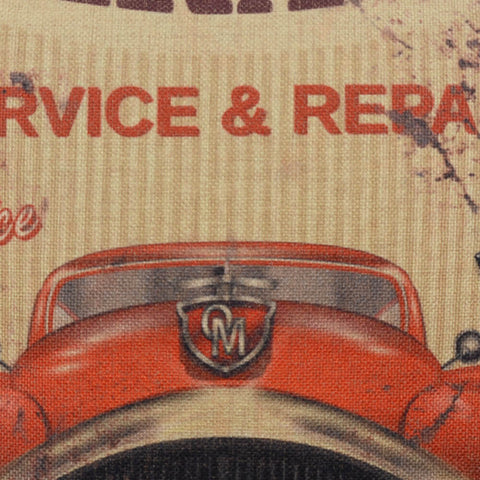 Image of Old Car Garage Service Repair Bed Pillow Cover