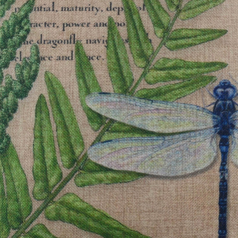 Image of Green Leaf Big Dragonfly Pillow Cover