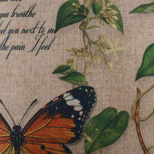 Vintage Butterfly with Green Leaf Pillow Cover