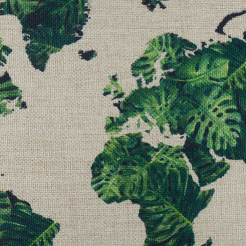 Image of 2017 Most Popular Color World Map Green Pillow Cover