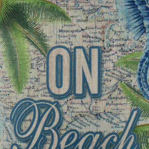 Image of Palm Tree On Beach Time Blue Throw Pillow Cover