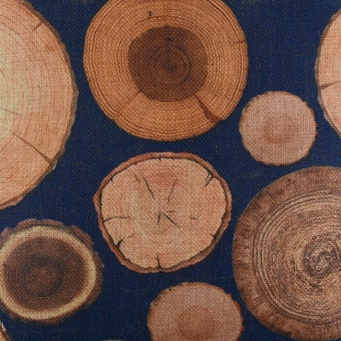 Blue Tree Ring Zippered Pillow Cover