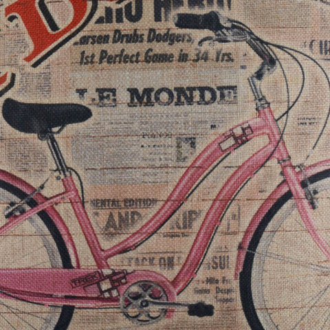 Pink Bike on French Paper Decorative Pillow Cover