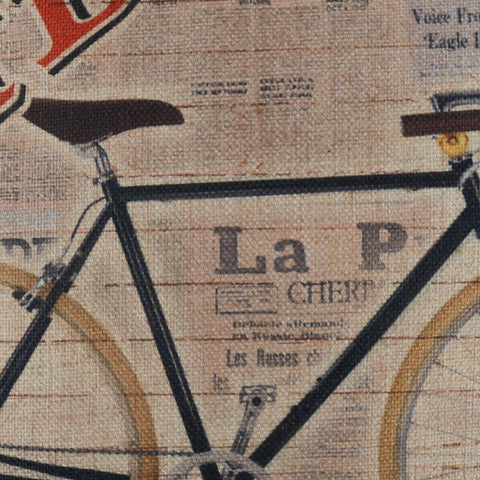 Image of Italian Newspaper Bicycle Decorative Pillow Cover