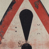 Warning Rusted Traffic Sign Pillow Cover