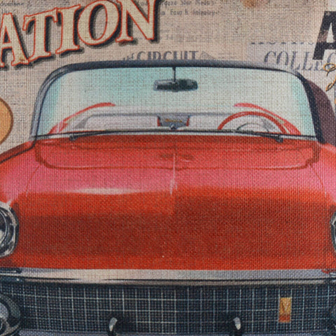 Image of Vintage Red Car Pillow Cover for Man Cave