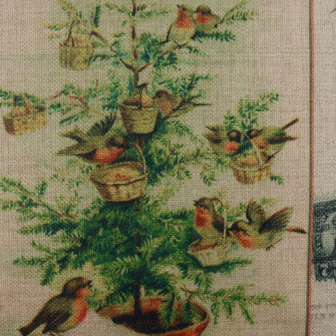 Image of Christmas Tree and Birds Pillow Cover