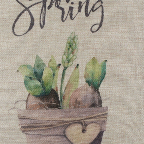 Image of Potted Plant Green Pillow Cover for Happy Spring