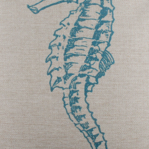 Image of Blue Seahorse Pillow Cover