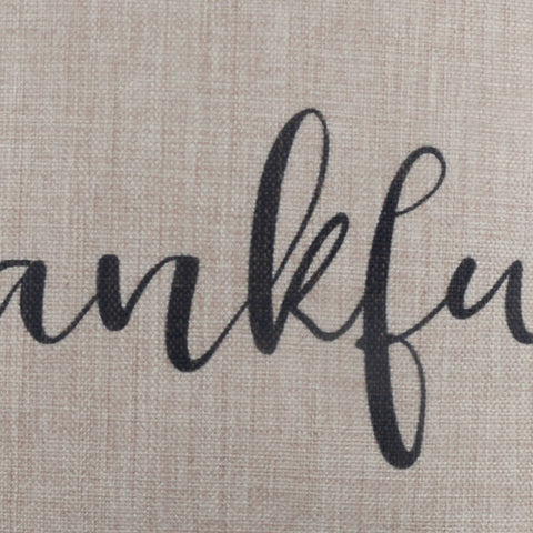 Black Thankful Word Pillow Cover