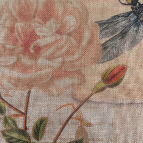 Image of Dragonfly and Pink Rose Pillow Cover