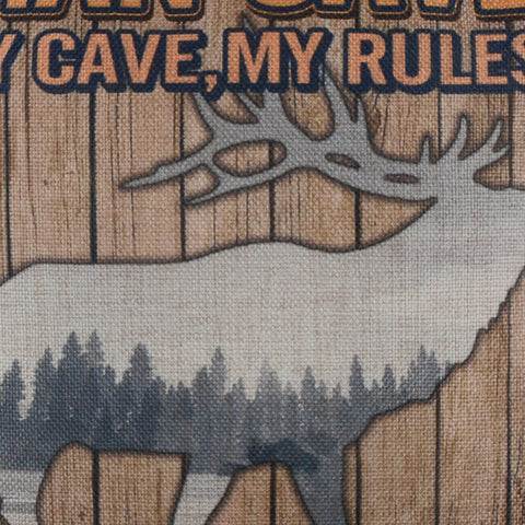 My Cave My Rules Deer Forest Cushion Cover