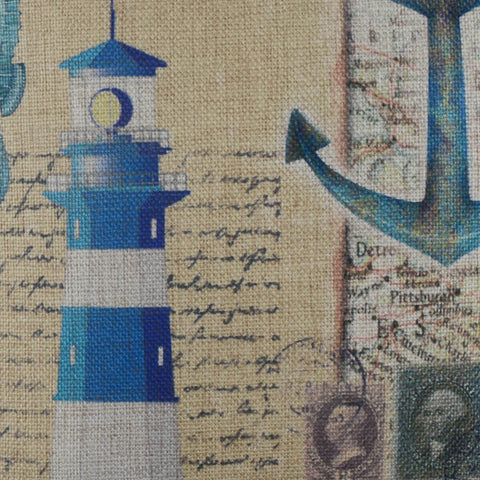 Image of Vintage Blue Lighthouse Cushion Cover