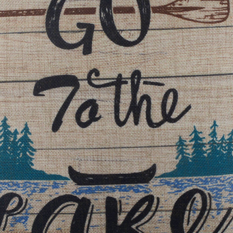 Image of Go to the Lake Blue Pillow Cover