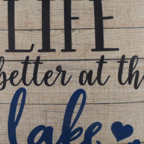 Image of Life is Better at the Lake Brown Pillow Cover