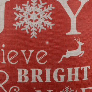Red Joy Merry Christmas Pillow Cover