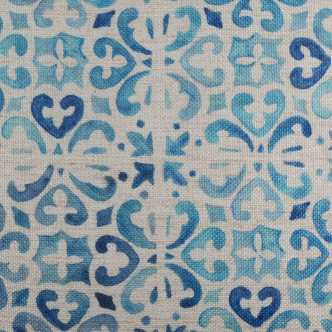 Image of Blue Porcelain Tile Printed Pillow Cover 18x18