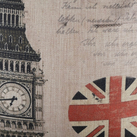 Image of Stylish Big Ben Union Jack Square Cushion Cover