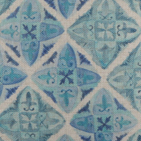 Blue Tile Pattern Cushion Cover