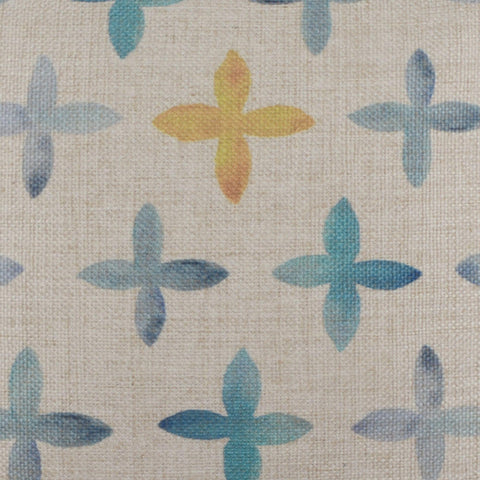 Watercolor Blue and Yellow Cross Pillow Cover