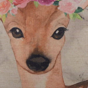 Floral Deer Cushion Cover