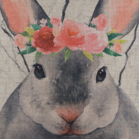 Cute Grey Bunny Pillow Cover for Easter Day