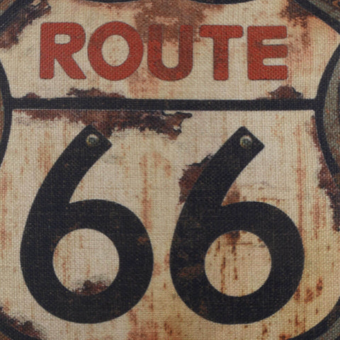 Image of Rusted Route 66 Pillow Cover for Man Cave Decor