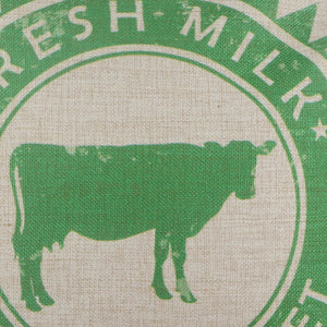 Green Farmers Market Cow Pillow Cover