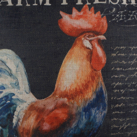 Image of Farm Fresh Rooster Black Pillow Cover